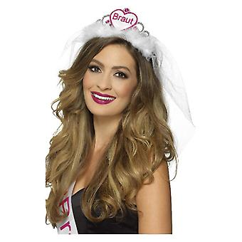 Womens Pink & White Braut BrideTiara Hen Party Accessory