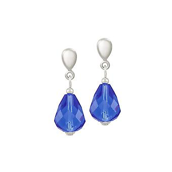 Eternal Collection Sophistication Sapphire Blue Crystal Silver Tone Drop Clip On Earrings