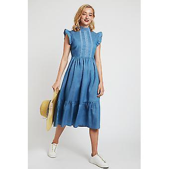 Louche Ally Lace Trim Dress Chambray