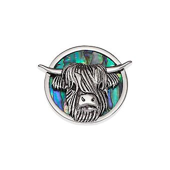 Eternal Collection Highland Cow Paua Shell Silver Tone Brooch