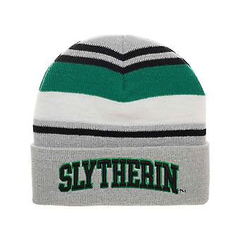 Harry Potter Beanie Hat Slytherin House Embroidery Logo new Official Striped