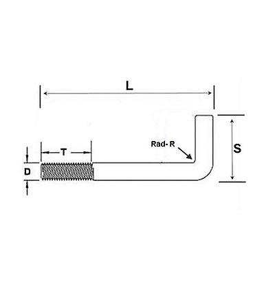 Foundation Bolt (anchor Or L-bolt) M8 X 75 Mm T316 (a4) Stainless Steel