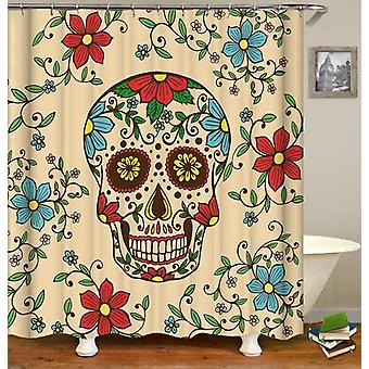 Red And Blue Flowers Skull Shower Curtain