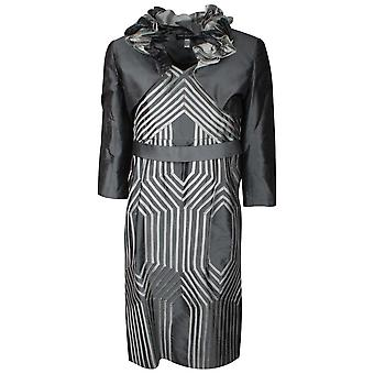 Ronald Joyce Grey Geometric Design Dress And Jacket