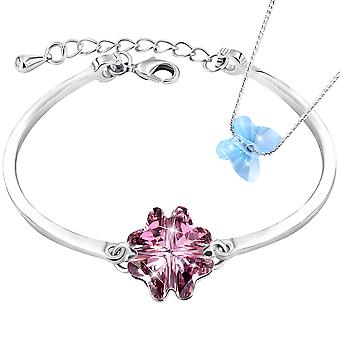 Necklace and bracelet with swarovski crystal. rhodium plated. by 2splendid. gift box included. bnqz019-20