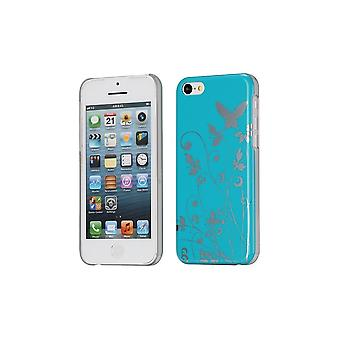 Plastic Shell Pattern Butterflies And Blue Background Flowers For Apple IPhone 5c