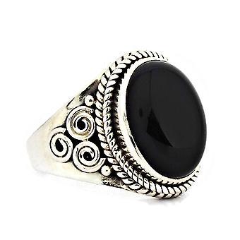 Ring 925 Silber mit Onyx 55 mm / Ø 17.5 mm (KLE-RI-049-03-(55))