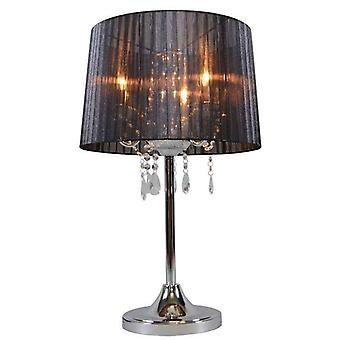 QAZQA Classic table lamp chrome with black shade - Ann-Kathrin 3
