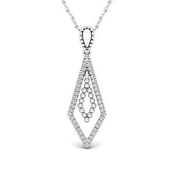 Igi certified s925 sterling silver 0.10ct tdw diamond diamond-shape necklace