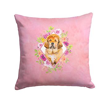 Tibetian Mastiff Puppy Pink Flowers Fabric Decorative Pillow