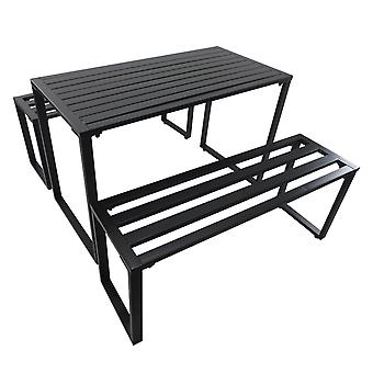 Outsunny Outdoor 3 PCs Metal Picnic Table and 2 Benches Set Dining Trestle Beer Table Patio Garden Furniture Black