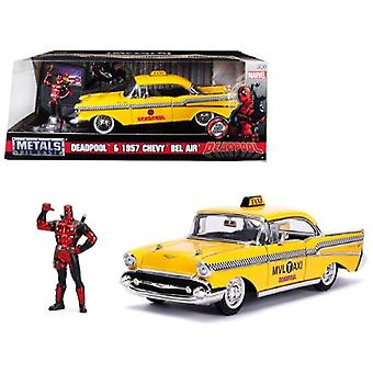 1957 Chevrolet Bel Air Taxi Yellow with Deadpool Diecast Figure Marvel Series 1/24 Diecast Model Car by Jada