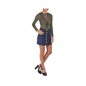 P UK Denim Button Front Skirt