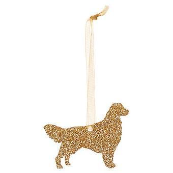 Gold Golden Retriever Style 3 Glitter  Christmas Decoration