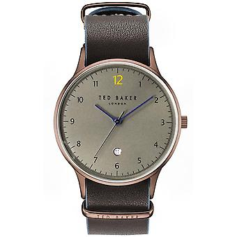 Ted Baker Ethan Quartz Grey Dial Black Leather Strap Mens Watch TE50519005