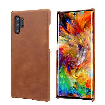 For Samsung Galaxy Note 10+ Plus Case Brown Elegant Genuine Leather Back Cover