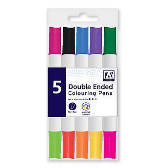 5-Pack de doble cara de tinta plumas de fibra Tip Color