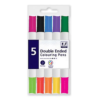5-Pack Doppelseitige Tintenstifte Fiber Tip Farbstifte