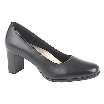 Mod Comfys Womens/Ladies Block Heel Leather Court Shoes