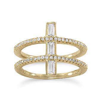 14k מצופה זהב 925 שטרלינג כסף להקה כפולה האמונה הדתית לחצות טבעת תכשיטים מתנות לנשים-גודל טבעת: 6 כדי 10