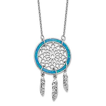 925 Sterling Silver Simulated Opal Dream Catcher With 2inch Ext. Necklace 15.5 Inch Jewelry Gifts for Women