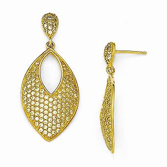 18mm Cheryl M 925 Sterling Silver 14k Gold Plated Yellow CZ Cubic Zirconia Simulated Diamond Post Long Drop Dangle Earri