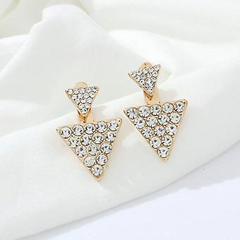 Boucles d'oreilles en cristal d'or Double Triangle