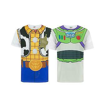 Disney Pixar Toy Story Woody Buzz Lightyear Costume T-Shirt Multi 2 PK Bundle