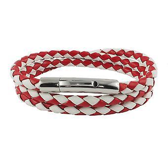 Lederen ketting lederen koord 4 mm heren ketting rood / wit 17-100 cm lang met hendel print gesp zilver gevlochten