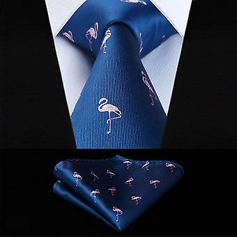 Dark blue & pink flamingo pocket square & necktie set