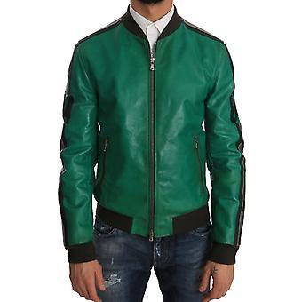 Dolce & Gabbana Green Leather 84 Motive Bomber Jacket