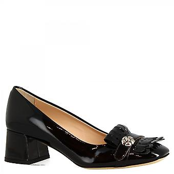 Donne 's tacchi fatti a mano pompe scarpe in pelle nera brevetto con gioielli