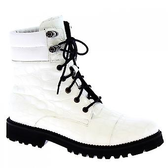 Women's handmade lace-ups boots in white calf leather crocodile print