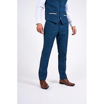 Marc Darcy DION Tweed Check Trouser - Blue