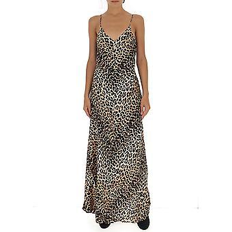 Ganni F3689943 Women's Leopard Silk Dress