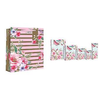 Eurowrap Stripe Floral Gift Bags (Pack of 12)