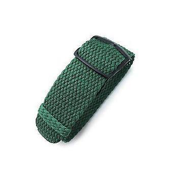 Strapcode fabric watch strap 20mm, 22mm miltat perlon watch strap, green, pvd brushed black ladder lock slider buckle