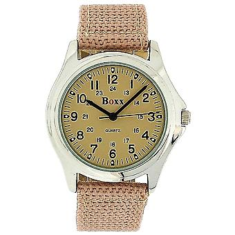 Boxx Gents-Teenage Analogue Army Beige Dial and Beige Nylon Buckle Strap Watch