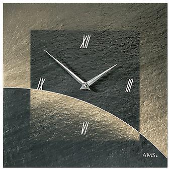 AMS 9519 wall clock kvartsi liuskekivi luonnon liuskekivi airbrush design liuskekivi katsella golden