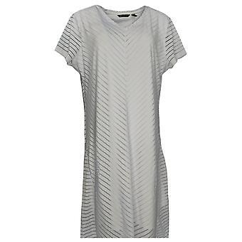 H by Halston Petite Dress Hi Low V Neck Burnout Stripe Maxi White A353065