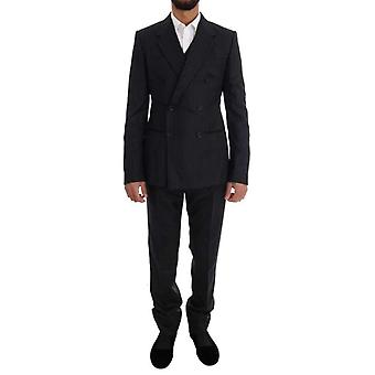 Dolce & Gabbana Black Striped Double Breasted 3 Piece Suit -- KOS1899120