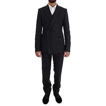 Dolce & Gabbana fekete csíkos dupla gombolású 3 részes öltöny -- KOS1899120