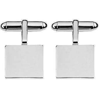 Orton West sterling Silver Square 2mm Plate Mandzsettagombok-Silver