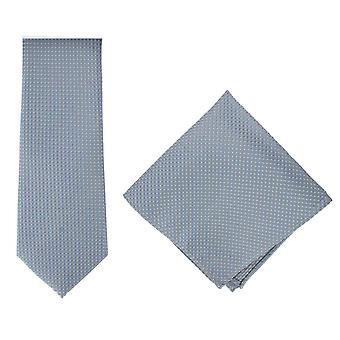 Michelsons of London Textured Geo Silk Tie and Pocket Square Set - Light Blue