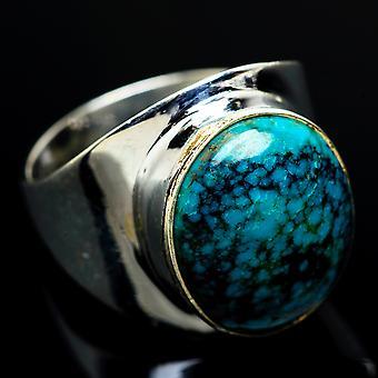 Tibetaanse turquoise ringgrootte 9.25 (925 Sterling Silver) - Handgemaakte Boho Vintage Sieraden RING8332