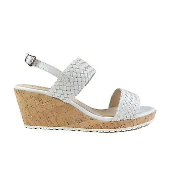 Caprice 28702 White Leather Womens Slingback Wedge Sandals