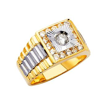 14k White Gold and Yellow Gold Mens CZ Cubic Zirconia Simulated Diamond Ring Size 10 Jewelry Gifts for Men