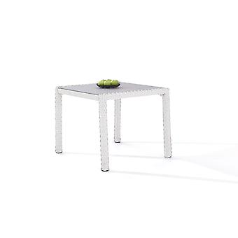 Polyrattan Table à manger 90 cm - satiné blanc