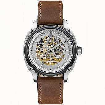 Ingersoll The Director Automatic Silver Dial Brown Leather Strap Men's Watch I09902