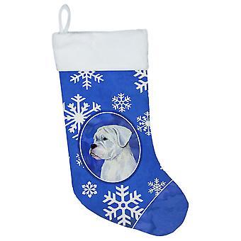 Carolines Treasures  SS4647-CS Boxer Winter Snowflakes Christmas Stocking SS4647